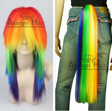 Cosplay My Little Pony Rainbow Dash Multi Color Synthetic PARTY Wig Ponytail