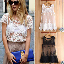 New Sexy Women Floral Sheer Embroidery Lace Crochet T-Shirt Vest Top Blouse