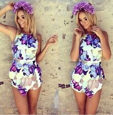 2014 Spring and summer style Fashion love girl flower print playsuits Jumpsuit