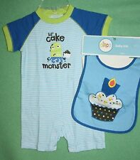 CIRCO BLUE BIRTHDAY OUTFIT WITH BIB CUPCAKE MONSTER 2PC OUTFIT PREOWNED USED