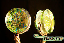 Double Flare Green Ice Dichroic Pyrex Plugs