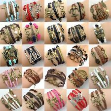 NEW Hot Jewelry Infinity Love Anchor Leather Cute Charm Bracelets pick Style B31