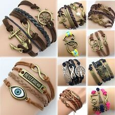 NEW DIY Jewelry fashion lots Style Leather Cute Infinity Charm Bracelet A23