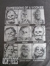 STAR WARS EXPRESSIONS OF A WOOKIE GRAPHIC T-SHIRT GRAY MEN'S SIZE S-XL