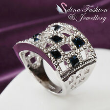 18K White Gold GP Made With Swarovski Crystal Hollow Out Square Sapphire Ring
