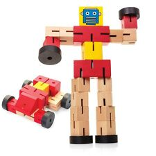 New Wooden Transformbot - Transforms Between Robot and Car - Blue Or Red Option