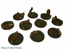 25mm Round Resin Bases - Forest/Woodland [PAINTED] Warhammer 40K, LotR, etc.