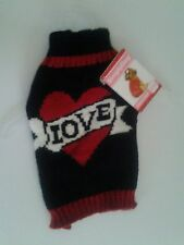 "Simply Dog Black and Red ""Love"" Sweater Dog Clothes in 4 Sizes Unisex"