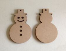 10 x SNOWMEN - 9cm- Xmas Wooden MDF Craft Blanks Christmas Gift Tags