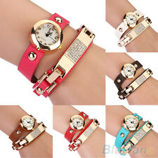 New Vogue Women Rhinestone Wrap Faux Leather Bracelet Analog Quartz Wrist Watch