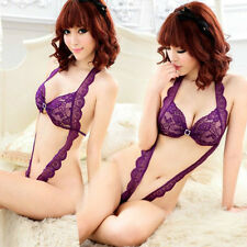 Sexy Women Lace Lingerie Teddy Open Crotch Nightdress Babydoll Sleepwear Hot