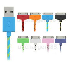 Braided Fabric USB Data Sync Charger Lead Cable For iPhone 4 4S 3G ipod ipad 2 3