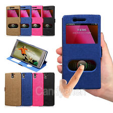 New View Window Flip Stand PU Leather Case Cover + LCD Film For OnePlus One 1+