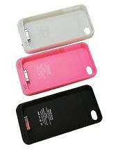 2000mAh External Rechargeable Backup Battery Charger Case Cover For iPhone 4S 4