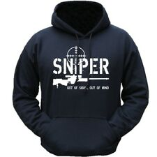 SNIPER HOODIE OUT OF SIGHT OUT OF MIND FUNNY MENS BRITISH ARMY HOODY MILITARY
