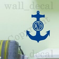 Circle Monogram Boat Anchor Personalized Wall Decal Vinyl Sticker Quote Initials