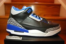 NIke Air Jordan Retro 3 III Black Sport Blue 136064-007 GS & MEN SZ:4y-14