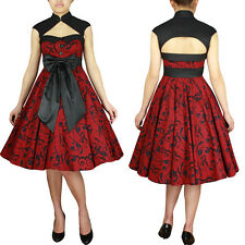 Red Archaize Printed Dress Rock and Roll Swing Dance Pin Up Rockabilly