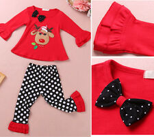 2014 Autumn Christmas Cow Baby Girls Kids Long Sleeve Shirt Clothes Pants Outfit