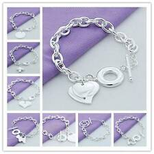 New! Wholesale Men/Lady Fashion silver Jewelry solid silver bracelet+gift box