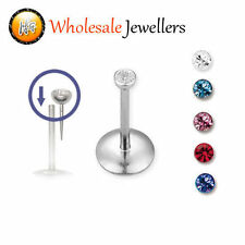 1pc New Stainless Steel Gem Labret Monroe Tragus Lip Bar Ear Stud Body Piercing