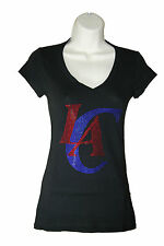 Los Angeles Clippers Rhinestone Bling Fitted Women's Deep V-Neck Shirt