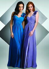 ONE SHOULDER CHIFFON PROM PARTY BRIDESMAID OR WEDDING DRESS SIZE 4 TO 30