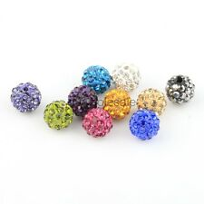 Rhinestone Crystal Ball Disco Beads Spacer Findings 10Pcs 10mm Pave Clay Round