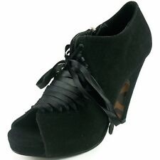 BETTIE PAGE Sexy High Heels Retro Womens Shoes Ribbon Laces BP302-O'DAY Black