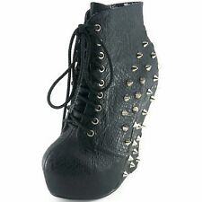 BETTIE PAGE Womens Curve Wedge Spiked Ankle Bootie BP588-BELLADONA BLACK