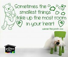 Winnie The Pooh Quote Wall Art Sticker Decal for Kids Nursery Smallest hearts