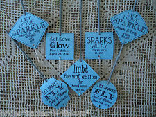 Kraft Blue Wedding Favour Gift Tags Sparklers Bomboniere PERSONALISED Vintage
