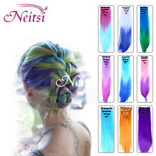 New Ombre Clip In Hair Extensions Synthetic Highlight Dip Dyed Rainbow Hair Lot
