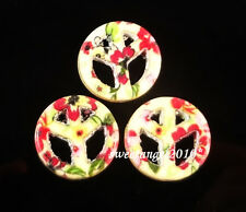 Lots 5/25/50Pcs colorful Peace sign turquoise loose beads Jewelry Design 15mm