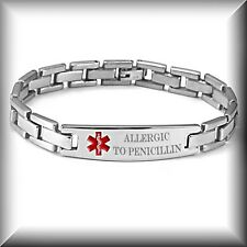 PERSONALIZED STAINLESS STEEL MEDICAL ALERT ID BRACELET ENGRAVED FREE