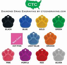Pet ID Tag LARGE PAW PRINT Diamond Engraved Dog Tag Personalized Aluminum