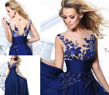 New Long Blue applique Prom Gown Evening/Formal/Party/Cocktail/Prom Dress !!!