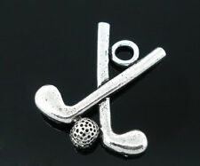 Wholesale Lots Silver Tone Golf Club/Ball Charms Pendants 25x22mm