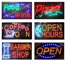Open pizza coffee fish & chips food wine barber Flashing led window Shop signs
