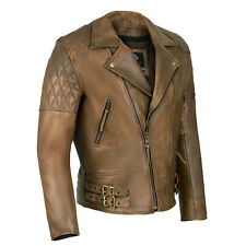 Classic Diamond Motorcycle Biker Brown Distressed Vintage Leather Jacket Armour