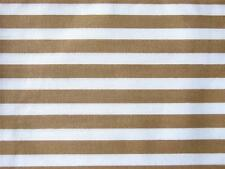 BEIGE and WHITE 7mm STRIPE 100% COTTON poplin material for craft bunting dress