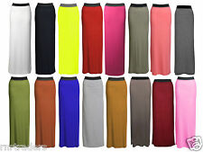 Womens Plain Gypsy Long Jersey Stretchy Maxi Dress Ladies Skirt Size 8-18 *JrsSK