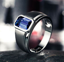 Size 9-12 Brand Jewelry Mens Jewelry Blue Sapphire Silver Filled Band Ring gift