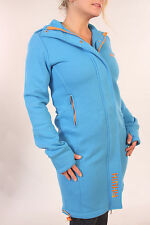 Trendy Blue Quality Long Winter Jacket. Coat Cyber Rave Punky Hoodie Fish BNWT