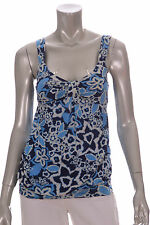 INC Blue/Navy Blue/White Floral Design Sleeveless Blouse
