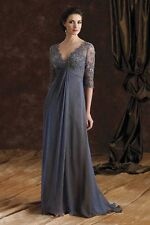 2014 A Line V Neck Sleeve Lace Mother Of Bride Dress Wedding Evening Party Gowns