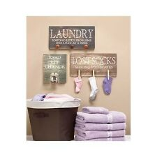 Wooden Wall Art Laundry Room Sign Country Decor Rustic Hangings Mounted Plaque