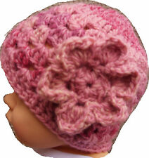 NEW BABY VINTAGE CROCHET BEANIE HAT childs knit winter flower bonnet anna 15
