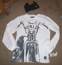 NEW 2 pc thermal HURLEY long sleeve shirt beanie hat boys youth motorcycle L XL