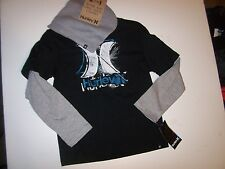 NEW lot 2pc HURLEY long sleeve t shirt beanie hat boys youth sz 4  5  6 7 black